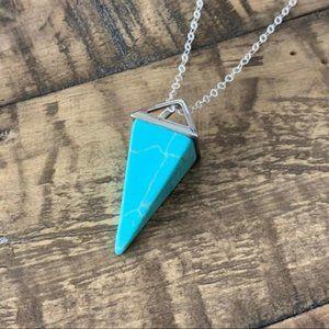Blue Turquoise Hex Pendant Charm Necklace